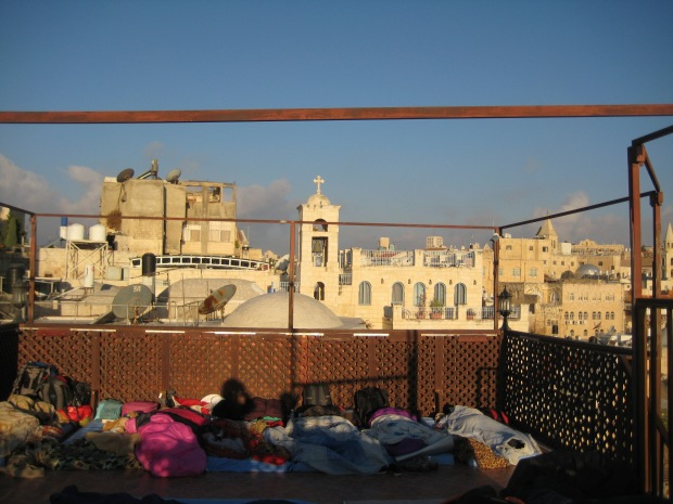 Morning view from my mattress accommodation, on a rooftop in Jerusalem!